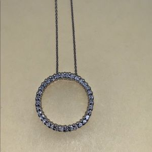 Jewelry - Diamond necklace with sterling chain.